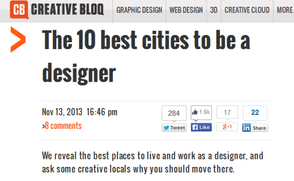 The top 10 cities to be adesigner in | Web-Designer Arsenal