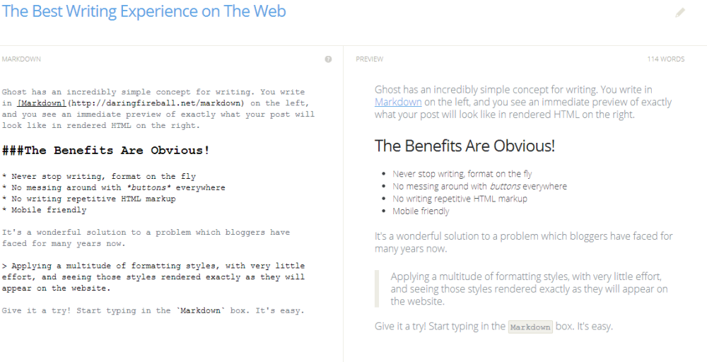 better writing experience on ghost | Web-Designer Arsenal