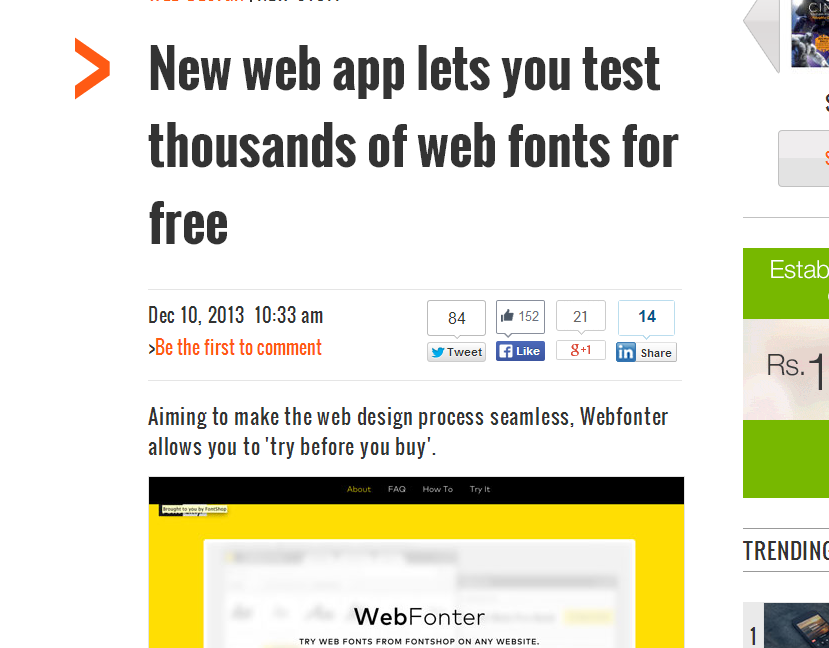 new web app test thousands of fonts