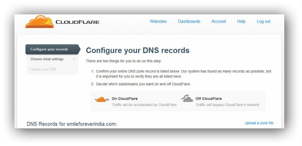 Cloudflare's screen for domain management | How to add Google Analytics to WordPress.com